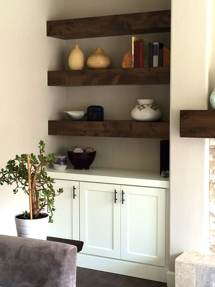 Knotty Alder Beam Builtin Shelves | Young & Son Woodworks | Stairs, Built-in Cabinets, Finish Carpentry | Portland, OR