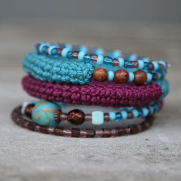 Crochet and bead spiral bangle ..love