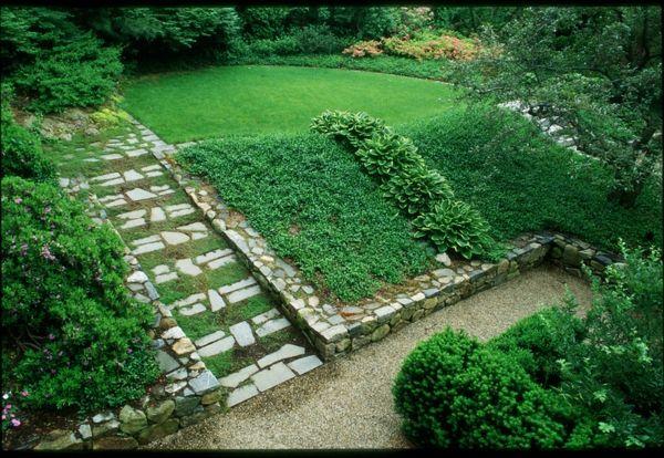 stufen treppe anordnung gartengestaltung ideen traditionell green