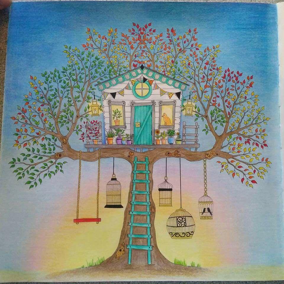 treehouse secret garden casa da rvore jardim secreto johanna basford art coloring books. Black Bedroom Furniture Sets. Home Design Ideas