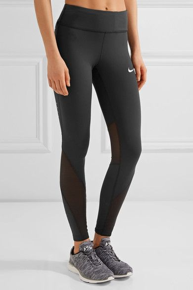 6cf2e70f561a04 Nike - Power Epic Mesh-paneled Dri-fit Stretch Leggings - Black ...