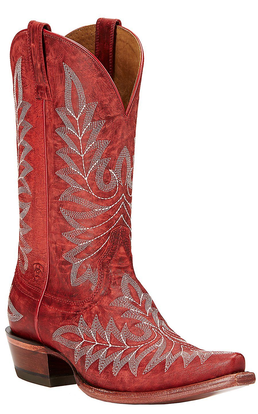c141f0ea5606 Ariat Brooklyn Women's Revel Red Embroidered Snip Toe Western Boots |  Cavender's