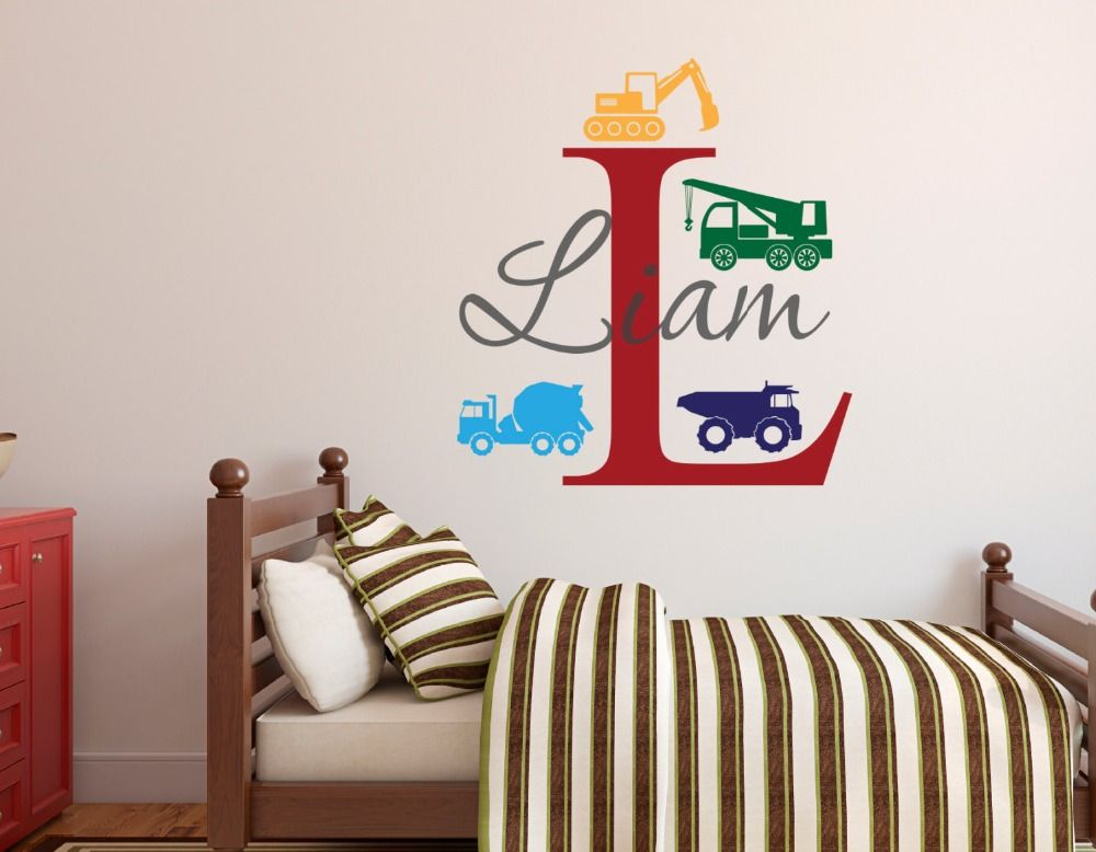 Awesome Trucks Boys Toy Wiht CustomName And Initial Vinyl Wall Sticker Nursery Kids  Bedroom Sweet Decor Lovely