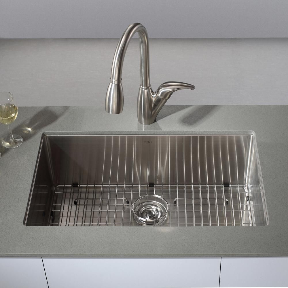 Kraus All In One Undermount Stainless Steel 32 In Single Bowl