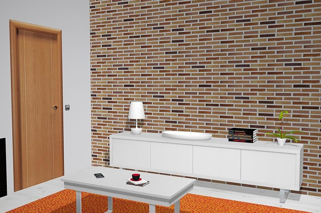 Salón comedor con pared de ladrillo y muebles color blanco SALON - muebles de pared