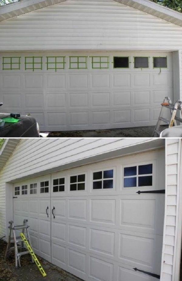24 Low Cost Ways To Power Up Your Homes Curb Appeal: Garage Decor, Garage Door Makeover, Cheap Home Decor