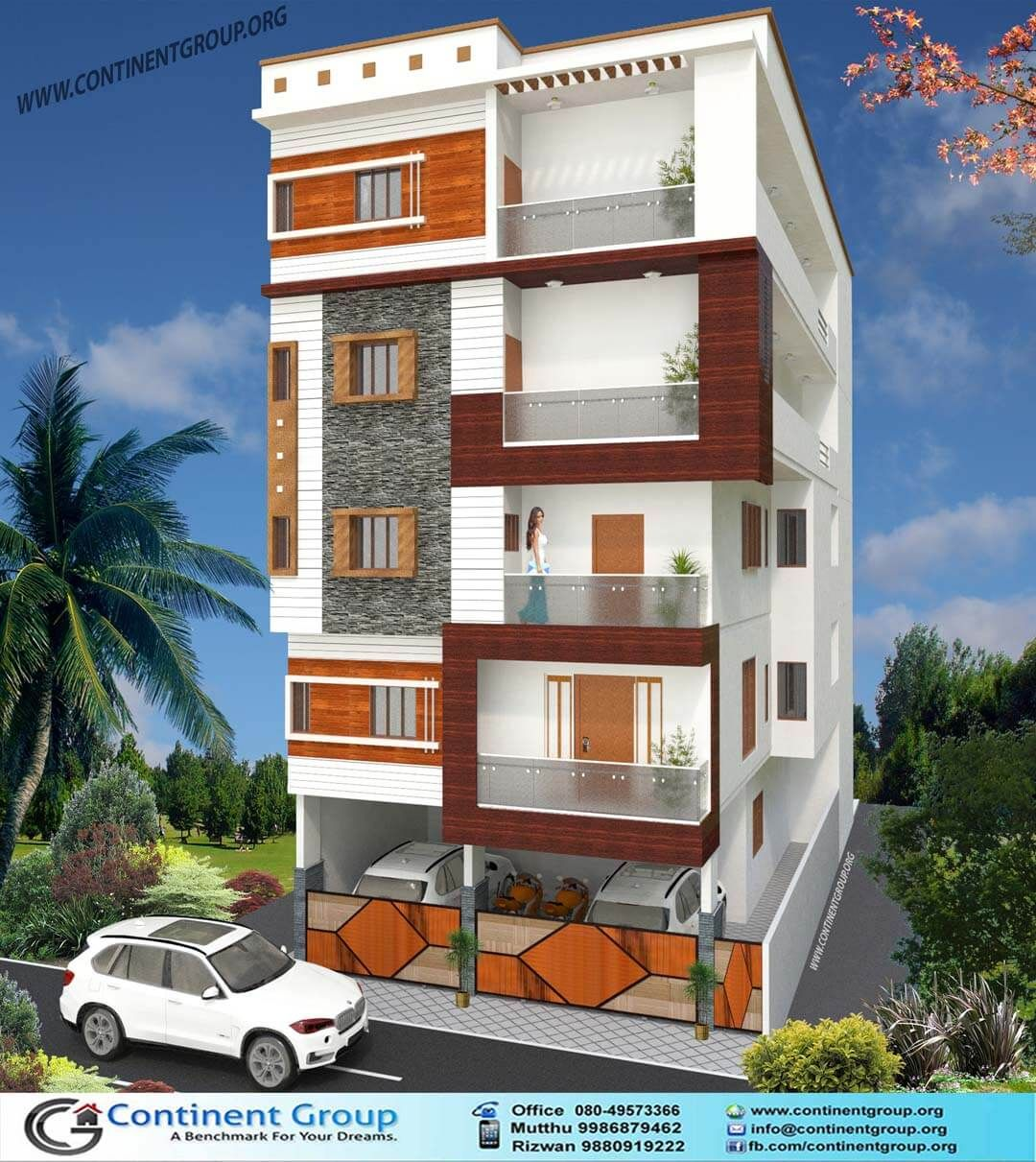 Home Design Ideas Bangalore: Building Elevation Modern Ground Plus 4