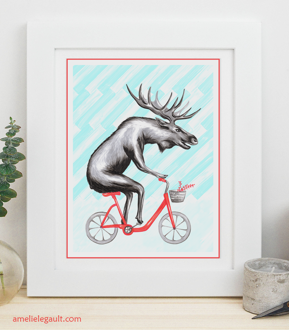 funny moose riding his bicycle print by amelie legault available