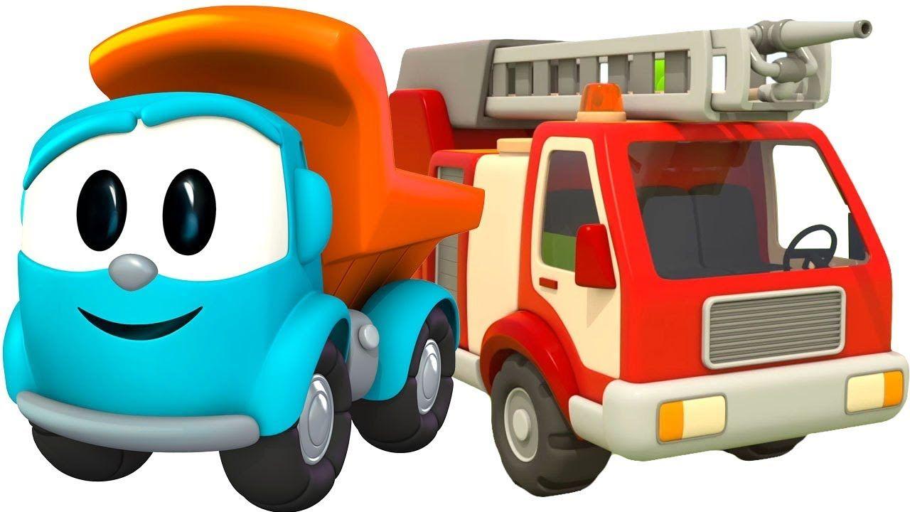 Leo der Lastwagen baut ein Feuerwehrauto. Cartoon für ...
