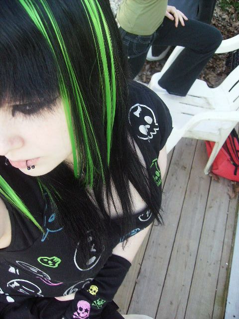 Lime Green Highlights Green Hair Streaks Green Highlights Green Hair