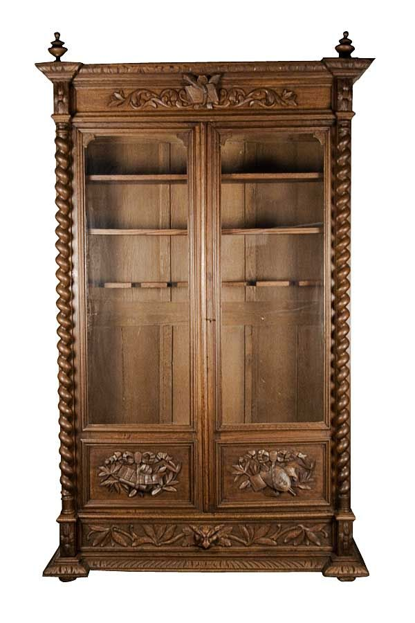 French Antique Armoire Converted Into Oak Gun Cabinet - French Antique Armoire Converted Into Oak Gun Cabinet Display