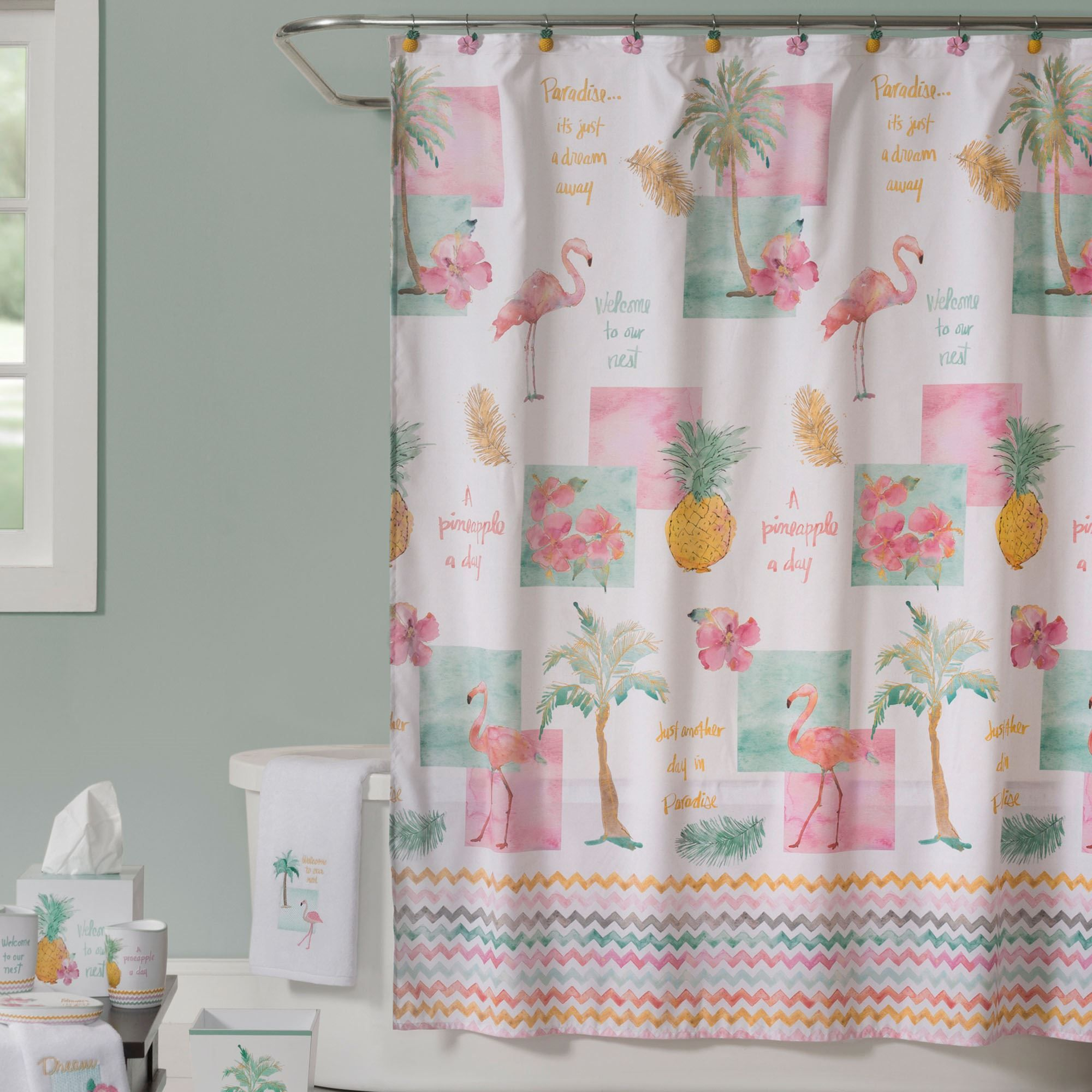 Flamingo Fever Tropical Shower Curtain