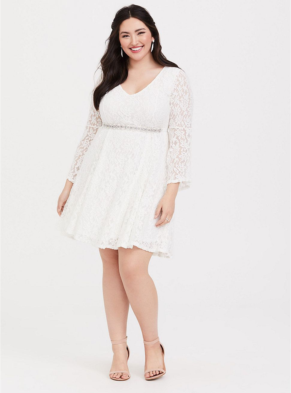 Ivory Lace Bell Sleeve Fluted Mini Dress White Lace Midi Dress Lace Summer Dresses Dresses [ 1308 x 971 Pixel ]