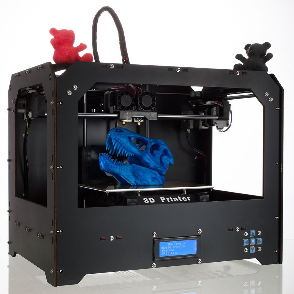 Black 3D Printer for Makerbot Replicator 2 Dual Extruders + 1ABS/PLA ...