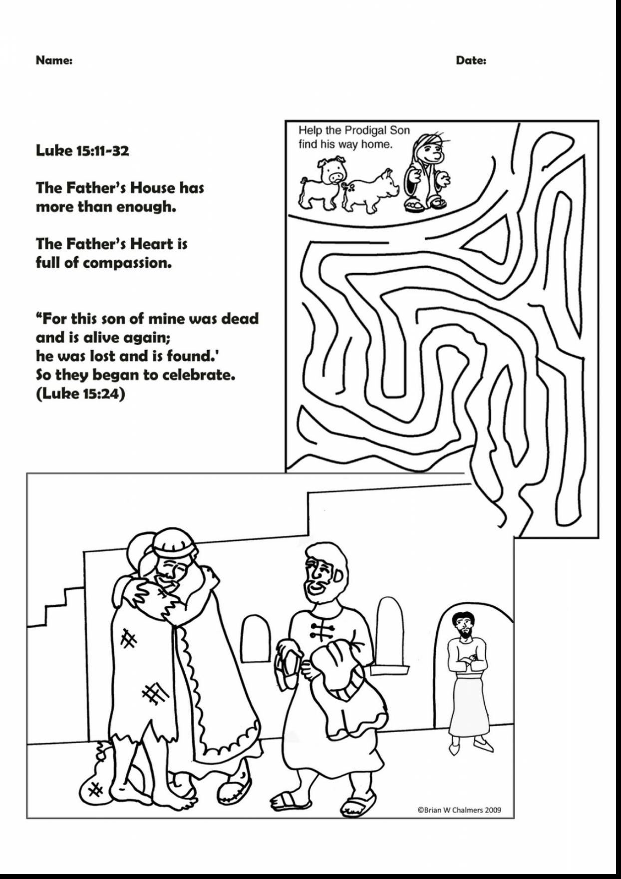 Brilliant Prodigal Son Activity Sheets With Coloring Pages To