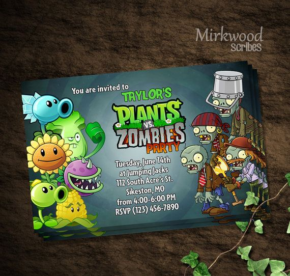 Plants Vs Zombies Party Invitation Pvz Party By