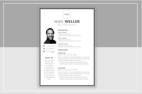 Resume Templates  Design  Mike W Resume and Cover Template - m w resume