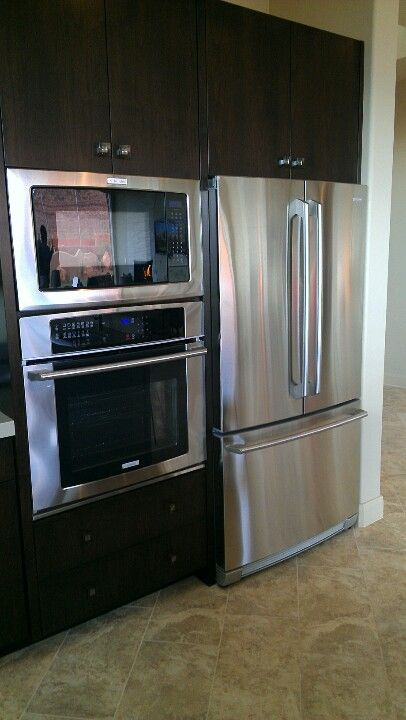 Stove Microwave And Fridge Next To Each Other Must Be Counter Depth Fridge Kitchen Projects Design Kitchen Solutions Kitchen Remodel