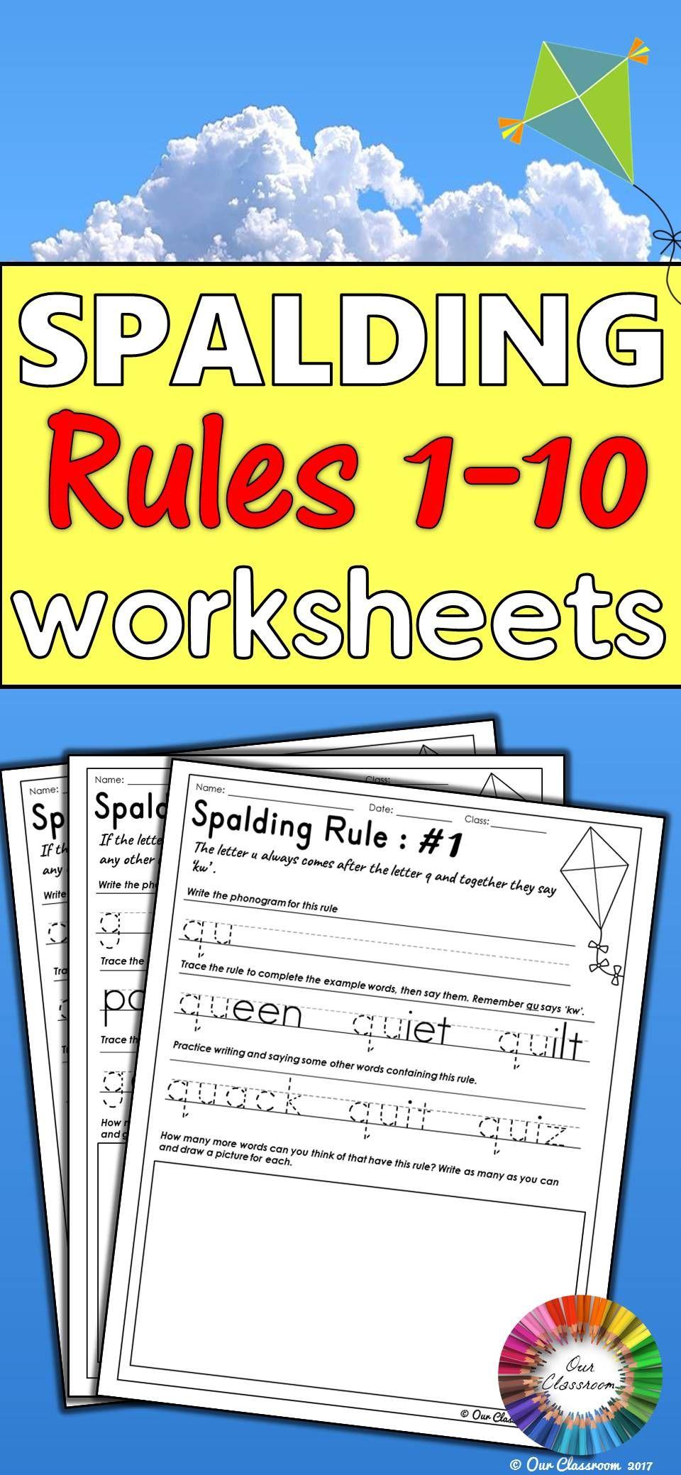 Spalding Rules 1 10 Worksheets Fantastic Firsties Pinterest