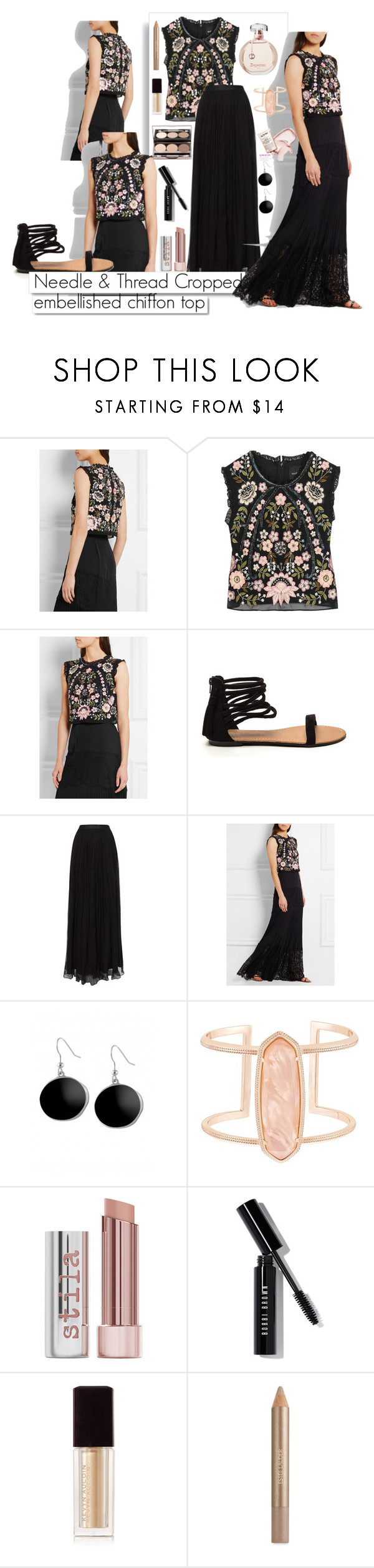 """""""Needle & Thread Cropped embellished chiffon top"""" by maggiesmelody ❤ liked on Polyvore featuring Needle & Thread, Nude by Nature, White Label, Karen Kane, Kendra Scott, Stila, Bobbi Brown Cosmetics, Kevyn Aucoin, Estée Lauder and summersandals"""