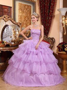 Beautiful Lavender Strapless Organza Beaded Sweet 16 Quinceanera Dress