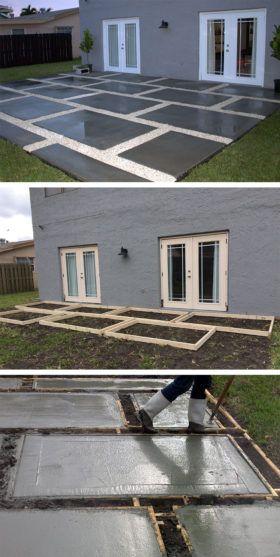 Béton Terrasse Maison Du Garage Bricolage Idées De Patio