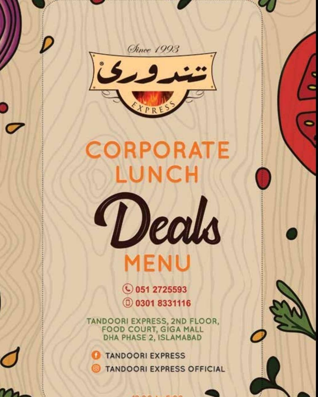 Tandoori Express introducing Corporate Lunch deals menu