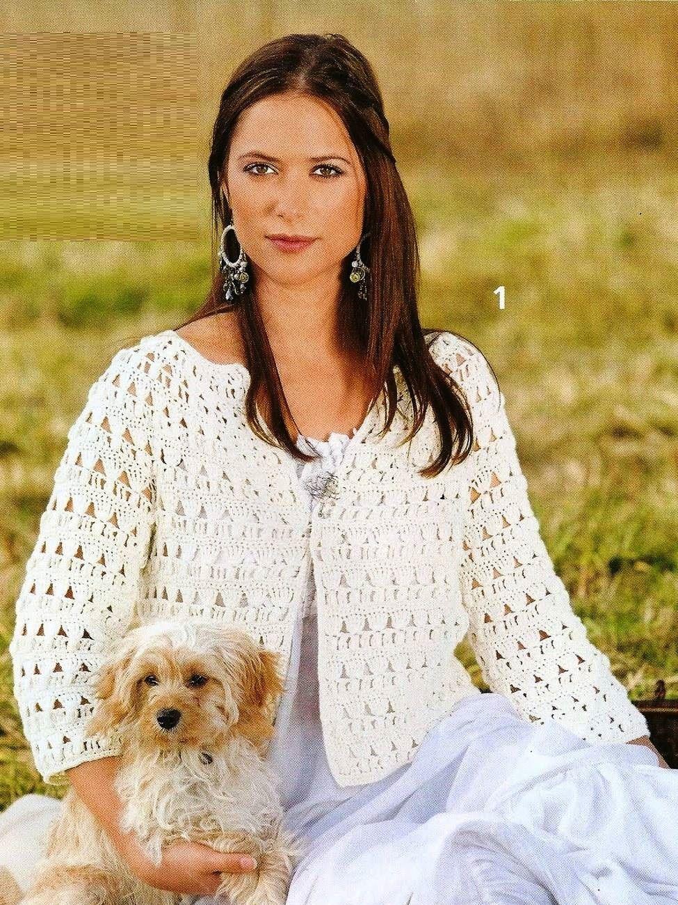 Chaqueta Blanca Patron - Patrones Crochet | Abrigos, chaquetas ...