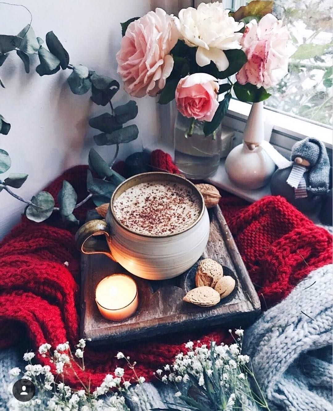 Drink cacao home cosy room flowers rose bed romantic