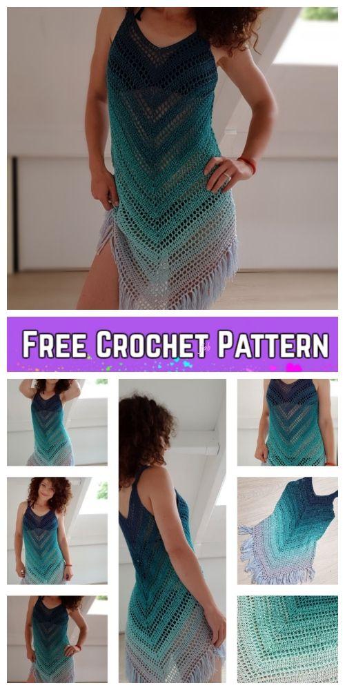 Easy Summer Sea Breeze Cover Up Dress Crochet Free Pattern #crochetclothes