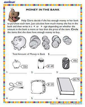 Money In The Bank Free Printable Money Worksheet Jumpstart Money Worksheets Worksheets For Kids Kids Math Worksheets