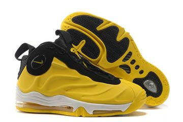 reputable site 06c8a 20315 mens nike air total foamposite max bright yellow and black white basketball  shoe