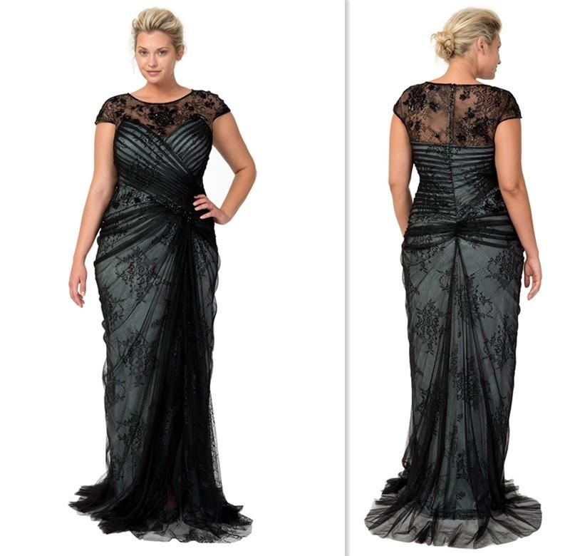 formal dress for wedding plus size plus size dresses 2015 black lace cap sleeves sheer 4314