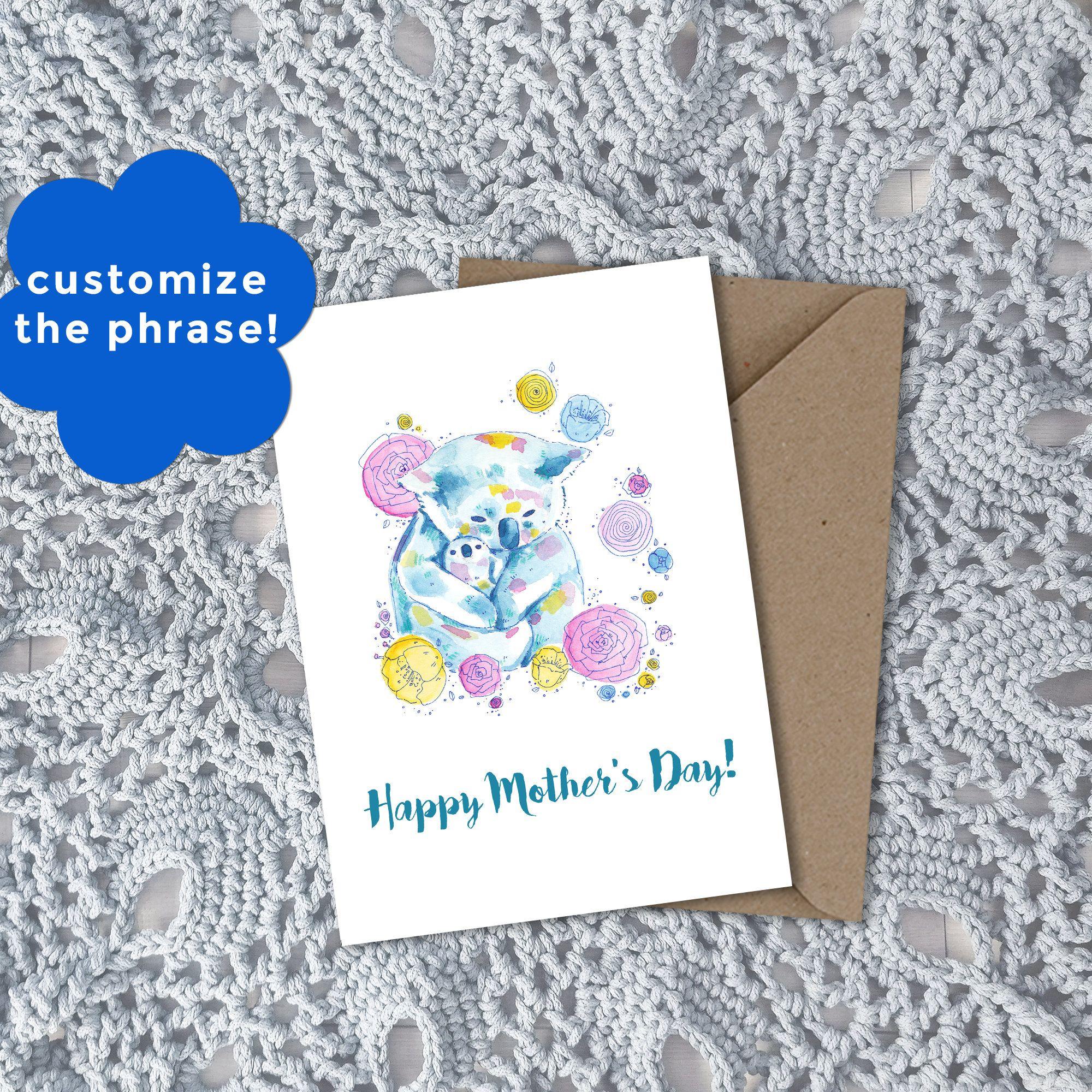 Floral Koala Watercolor Art Customizable Greeting Card Perfect