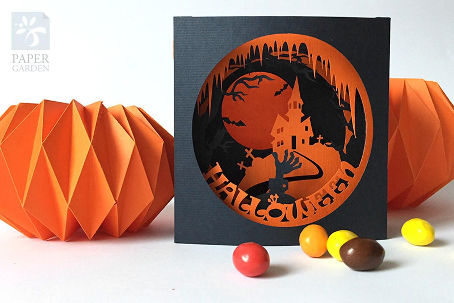 Papercut Template Tunnel Card Halloween Instant Download Etsy Pop Up Card Templates Pop Up Cards Paper Crafts Cards
