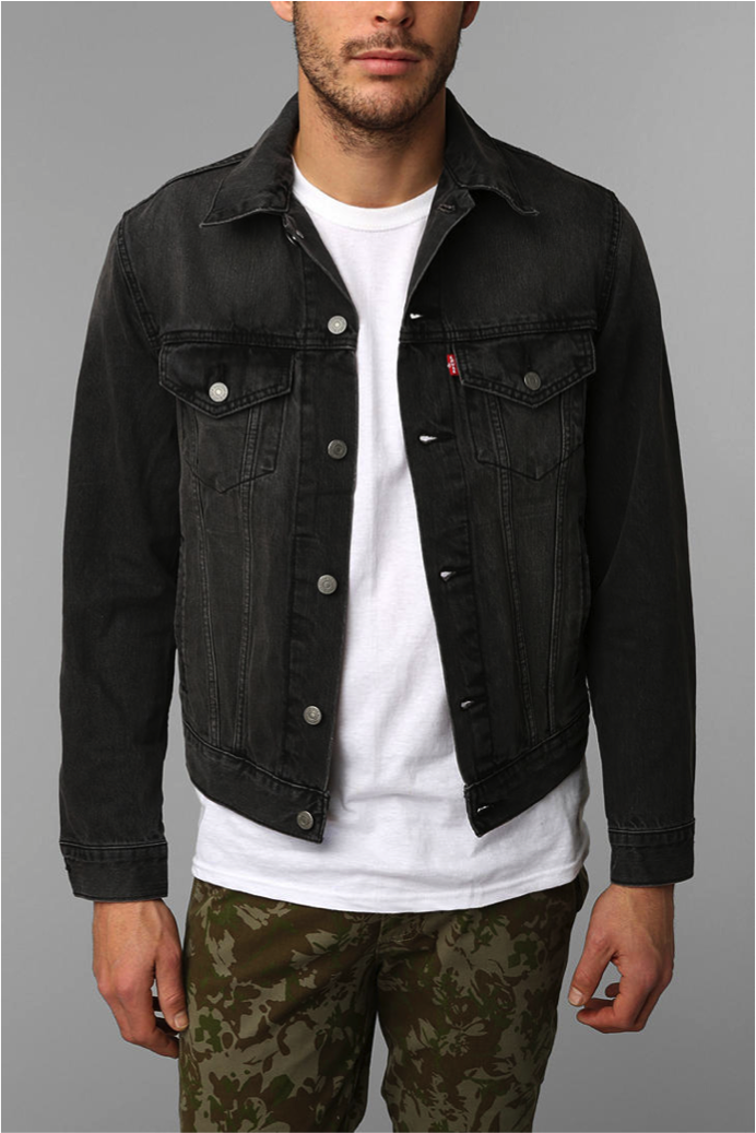 Levis Washed Black Denim Trucker Jacket Easy To Pair With A Casual Outfit For Spring Summer 2016 Black Denim Classic Denim Jacket Trucker Jacket