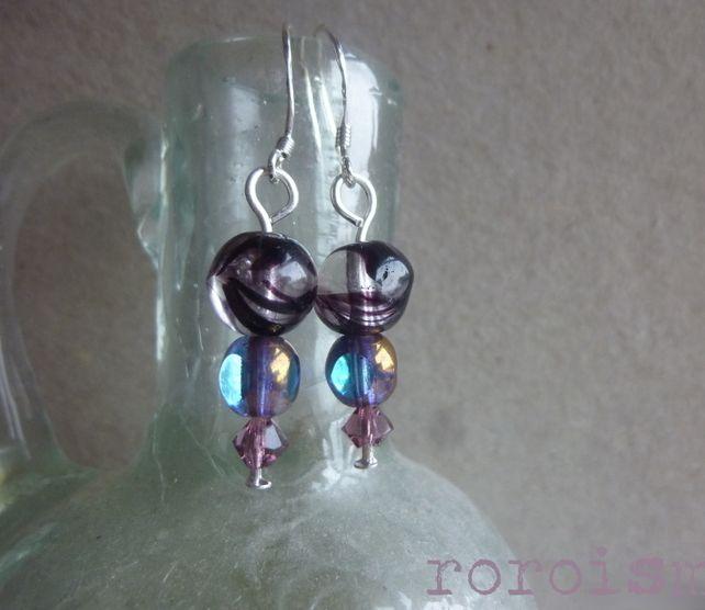 Purple and Sapphire Swarovski Glass Earrings  on Sterling Silver £10.00