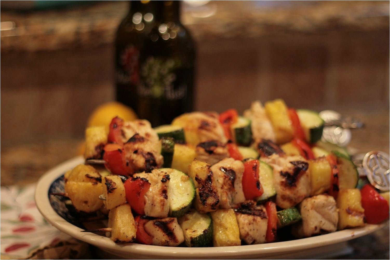 Recipe Grilled Chicken Kebabs with Lemon Fused Olive Oil