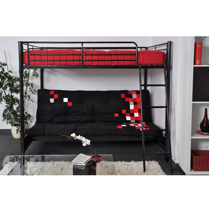hugo lit mezzanine enfant avec sommiers banquette clic clac contemporain en m tal laqu poxy. Black Bedroom Furniture Sets. Home Design Ideas