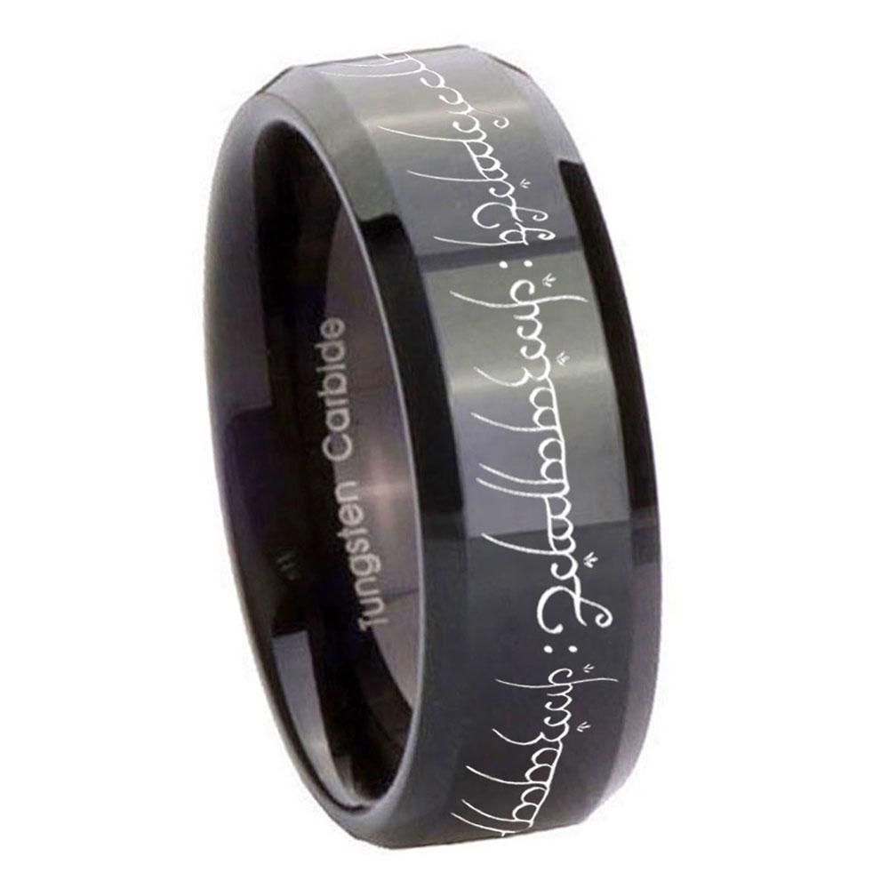 10mm lord of the ring beveled edges black tungsten carbide