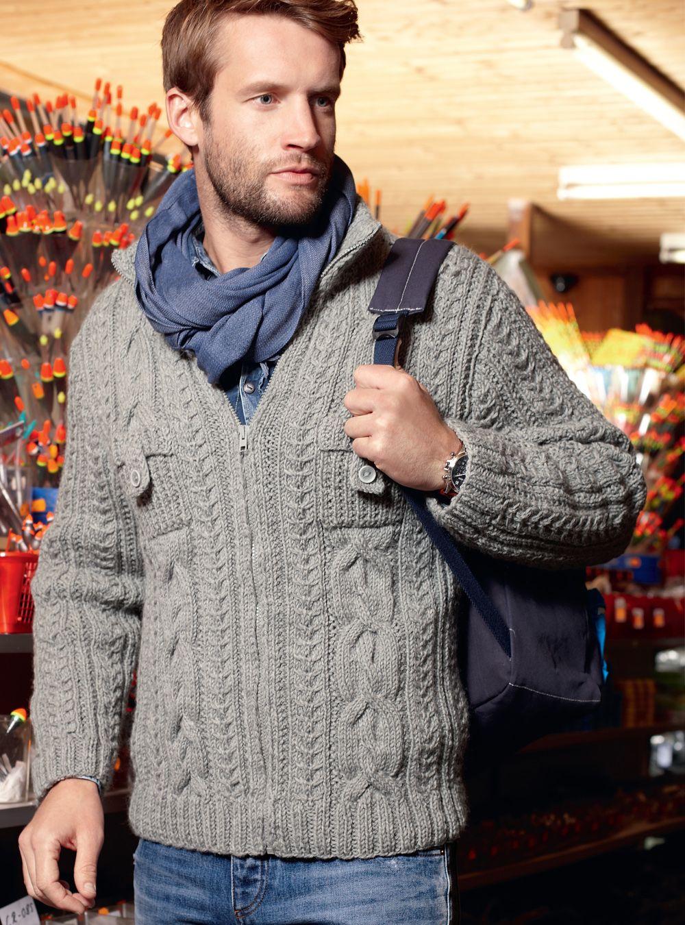 5c823a80a5eee Мужская кофта с накладными карманами - схема вязания спицами. Вяжем Кофты  на Verena.ru