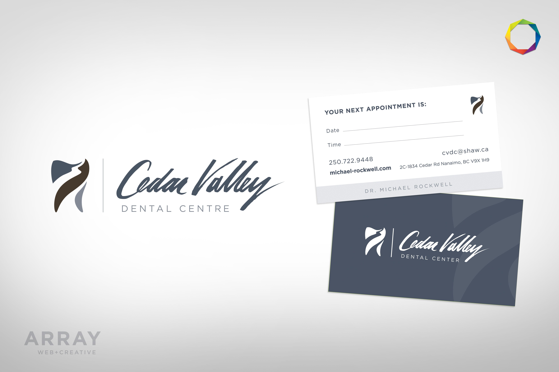 Brand Appointment Cards For Nanaimo S Cedar Valley Dental Array Web Creative Nanaimo Design Bus Custom Website Design Appointment Cards Website Design