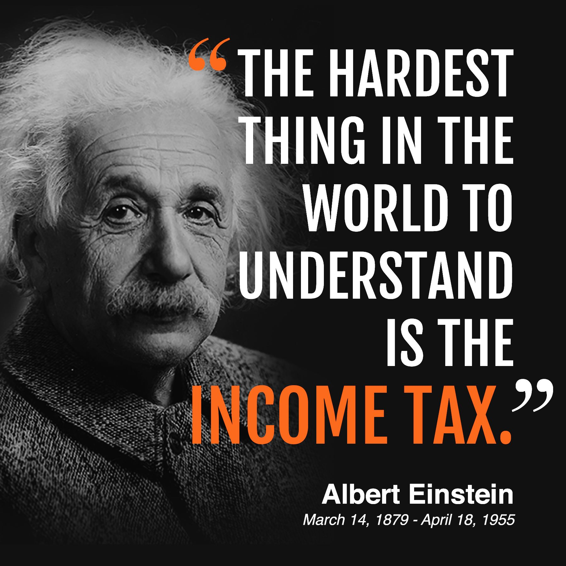 Thechisel Salutes World Renowned Physicist Albert Einstein His 138th Birthday Science Physics Taxes Bipartisan The Hard Einstein Income Tax Understanding
