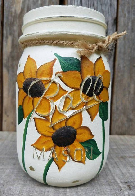 Sunflower Pint size Ball Mason, Painted Mason jars, Mason jar Decor