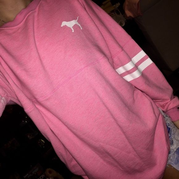 VS Pink Varsity Crew Guc. Some wash wear. Normal though. Size small. I only negotiate through the offer button. NOT TRADING. PINK Victoria's Secret Sweaters Crew & Scoop Necks