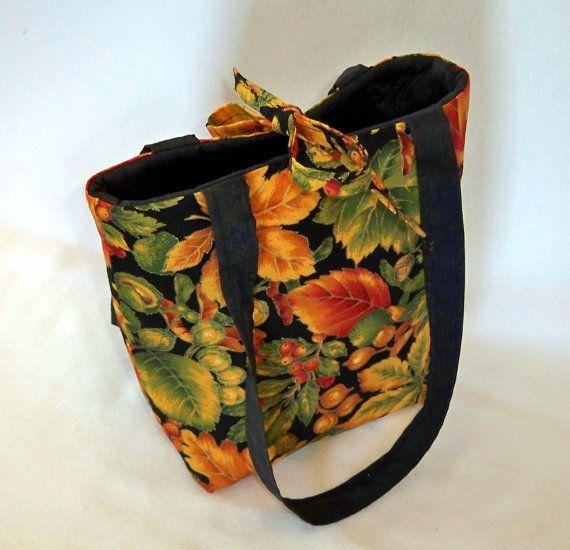 Handmade Fall Colorful Leaves Tote Purse Bag