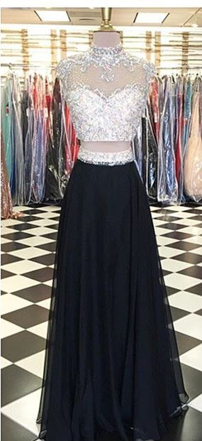 Charming Prom Dress,A Line Prom Dress,Two Piece Tulle