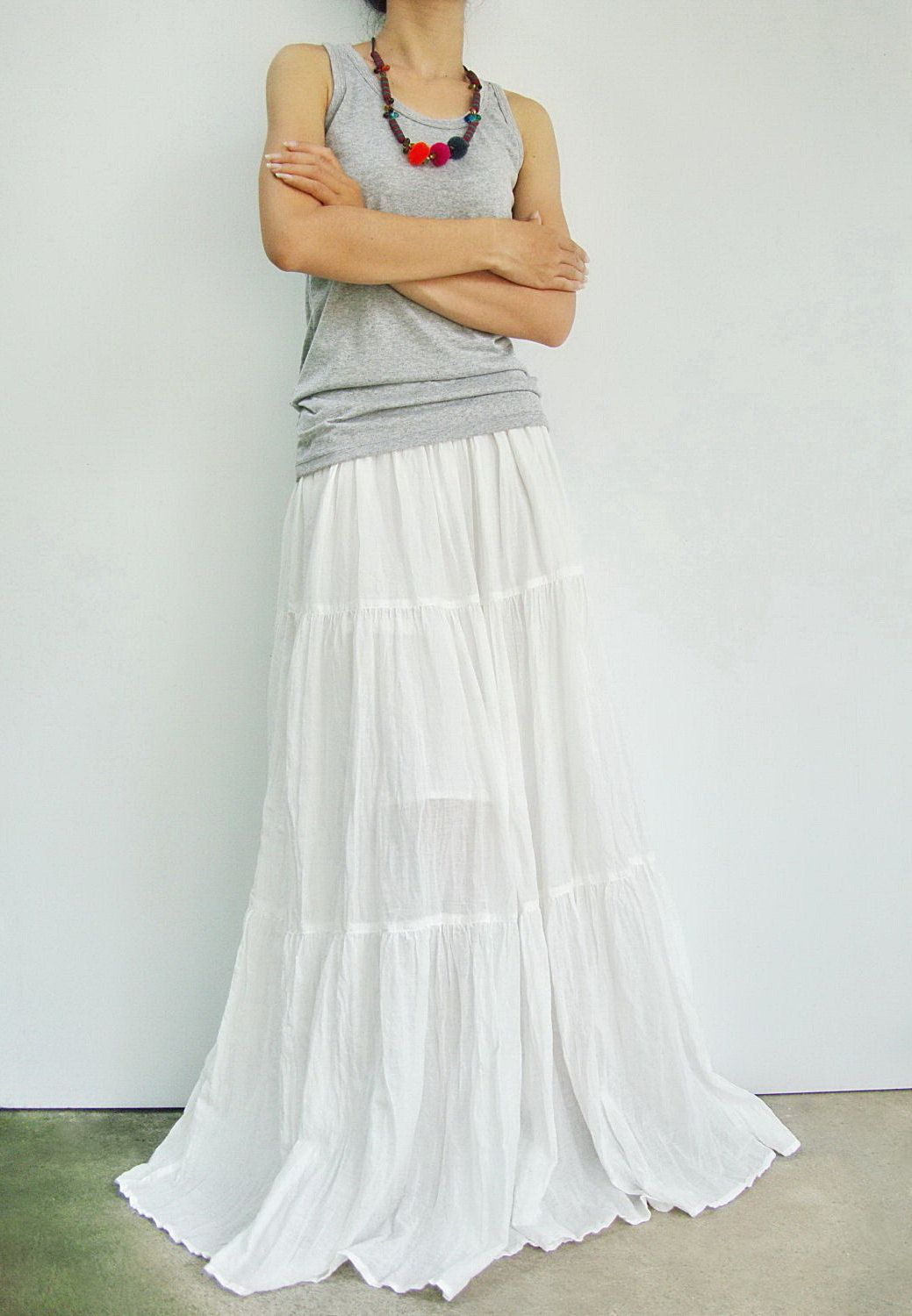 ef09fae25c NO.5 Off-White Cotton, Hippie Gypsy Boho Tiered Long Peasant Skirt. $42.00,  via Etsy.