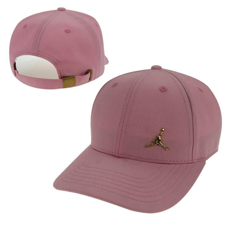 25323601cf3 Men s   Women s Unisex Air Jordan The Small Jumpman Gold Metal Logo Strap  Back Adjustable Baseball Hat - Pink