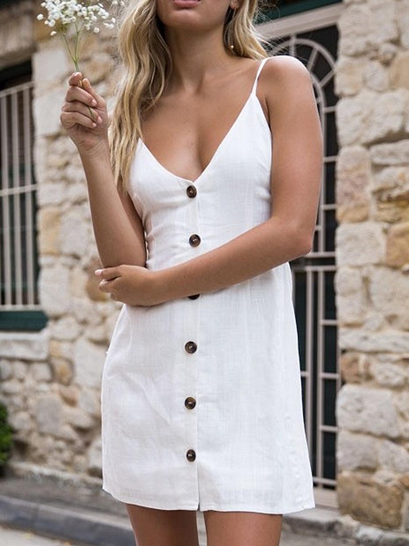 White V Neck Button Up Tie Back Spaghetti Strap Mini Dress Choies Com Short Mini Dress Spaghetti Strap Mini Dress A Line Dress [ 1500 x 1125 Pixel ]
